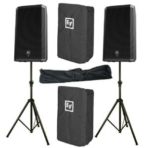 2x Electro-Voice EV ZLX-12P 2000W Powered PA Speaker +Stand +Cover 3Yr Warrant